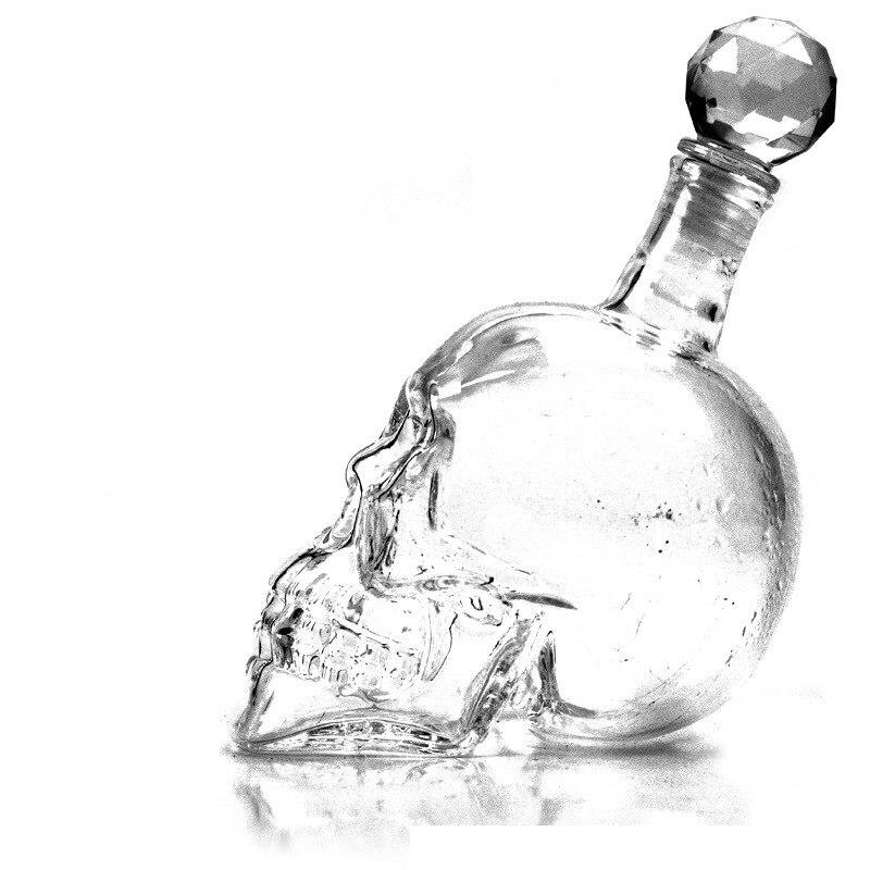 4 tamaños de cabeza de cristal botella de Vodka cráneo botellas creativas gótico vino Vodka botella 125 ml 350 ml 550 ml 1000 ml