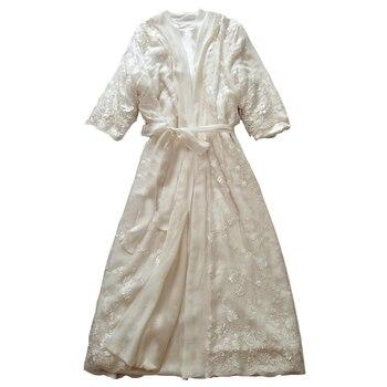 Silk Sleeping Robe + Nightdress Female Winter Thicken Warm Sleepwear Sexy Bathrobes Two-Piece Woman Long Nightgowns DS1121