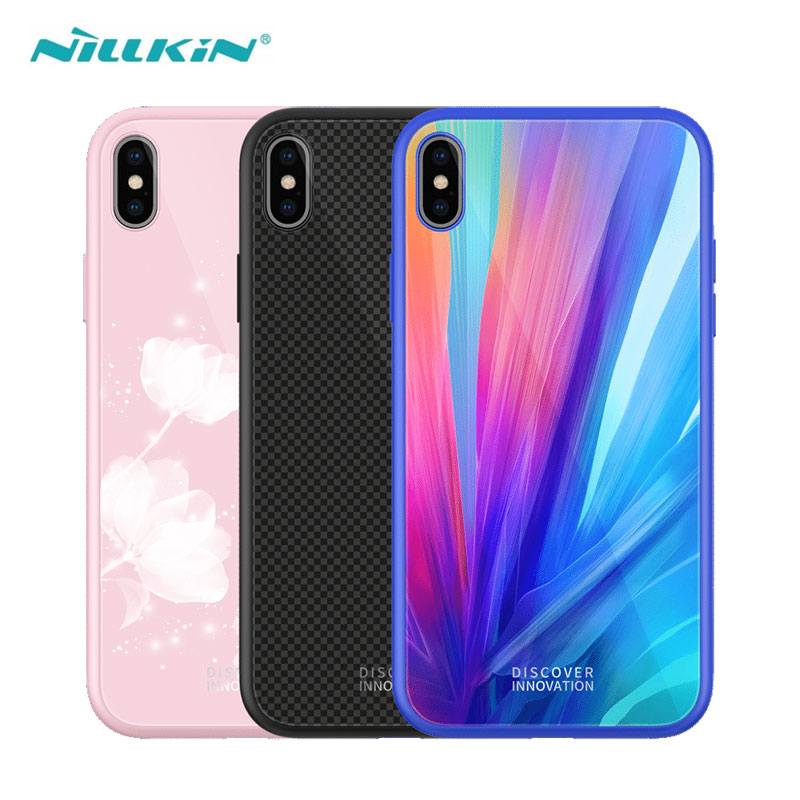 NILLKIN Tempered Glass Case For iPhone XS Max Silicone Cover Case For iPhone XR XS Luxury Cases TPU Frame Cover 2.5D Glass iPhone XS