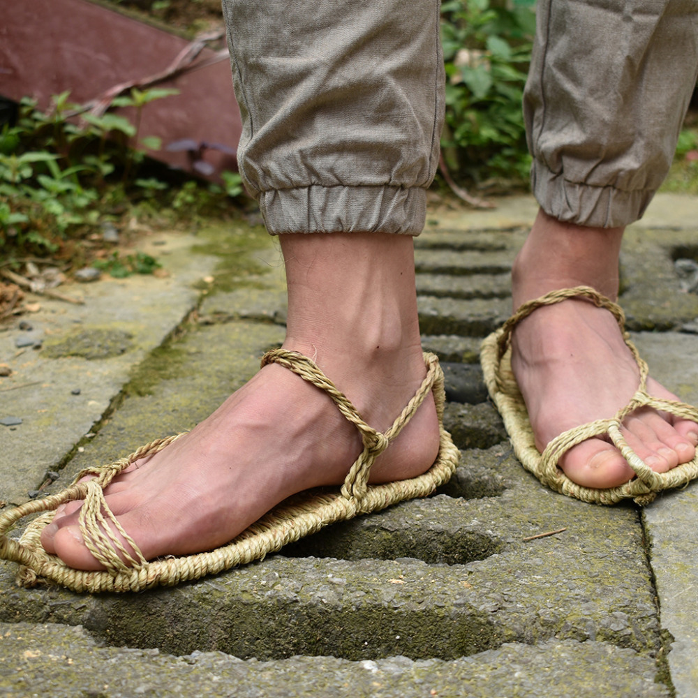 2018 new linen straw shoes handmade hand-woven men and women summer sandals retro Collection shoes plus size 37-48 TB