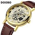 2017 hombres de los relojes de primeras marcas de lujo de oro reloj de cuarzo del reloj de manera de los hombres ocasionales de los deportes masculinos reloj de pulsera relojes doobo