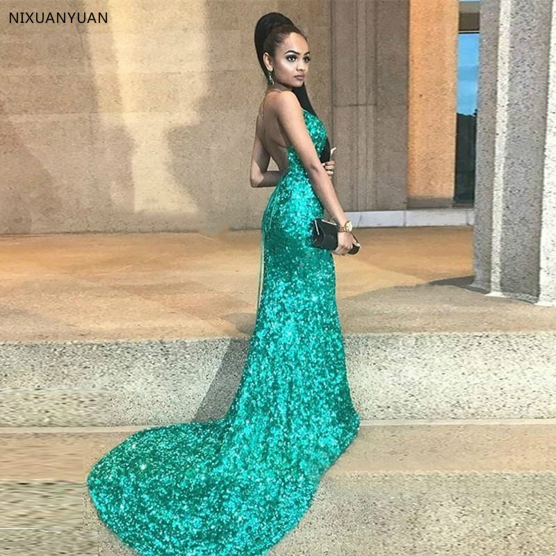 2019 New Elegant Green Sequins Off Shoulder Sexy Backless Mermaid   Evening     Dress   Long Robe De Soiree