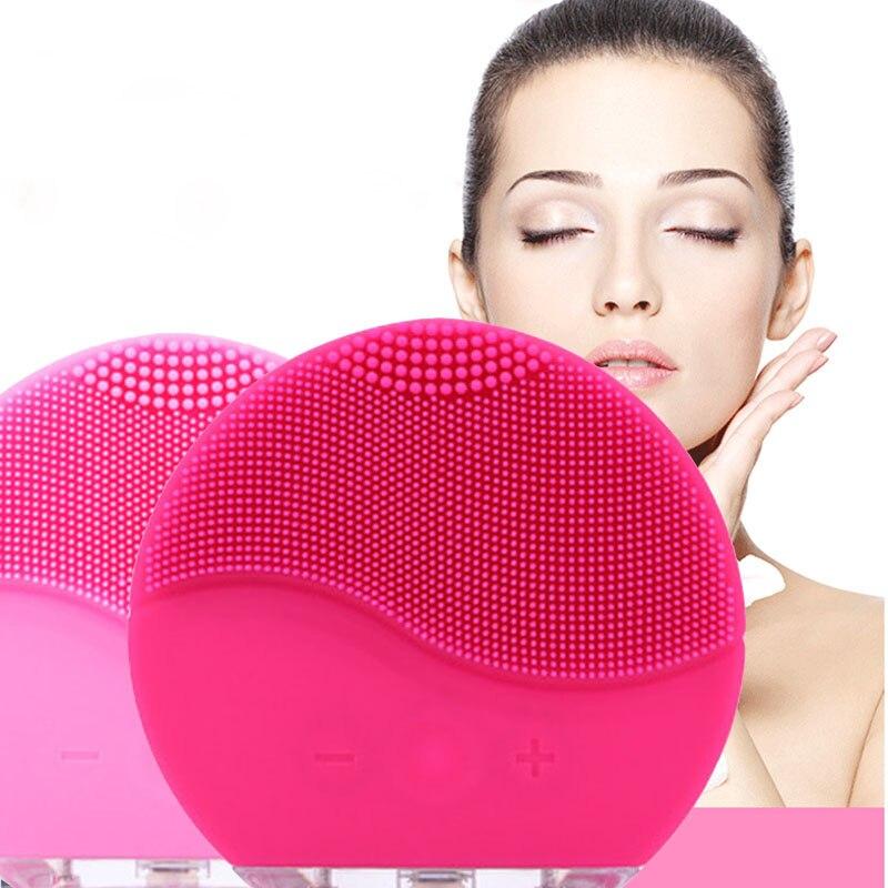 New Ultrasonic Elétrica Escova de Limpeza Facial Pele Vibração Remover Cravo Pore Cleanser Rosto Massageador de Silicone À Prova D' Água