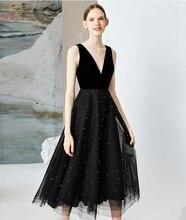 цена на Black Tulle Evening Dress 2019 New Pearls Deep V Neck Tea-Length A line Sleeveless Simple Style Elegant Party Formal Prom Gown