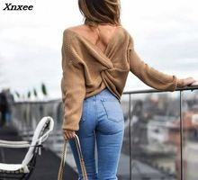 лучшая цена Xnxee 2018 New 4 colors V Neck Twisted Back Sweater Women Jumpers Pullovers Casual Tops Long Sleeve Knitted Sweaters pull femme