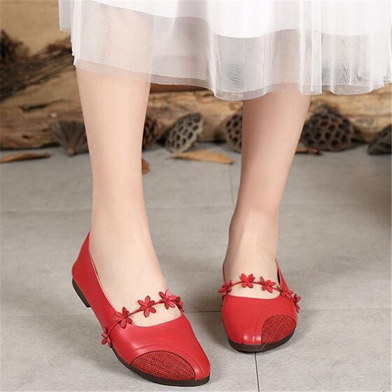Mädchen Schuhe rot Beige Slip Blumen Frauen Wohnungen Echtes Mori rot Creamy Weiß Leder on Casual 11wFRqv