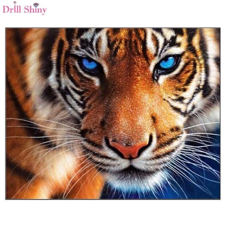 Vrták Lesklý kosočtverec malba tygr plný kulatý diamant křížový steh zvířecí domácí dekor