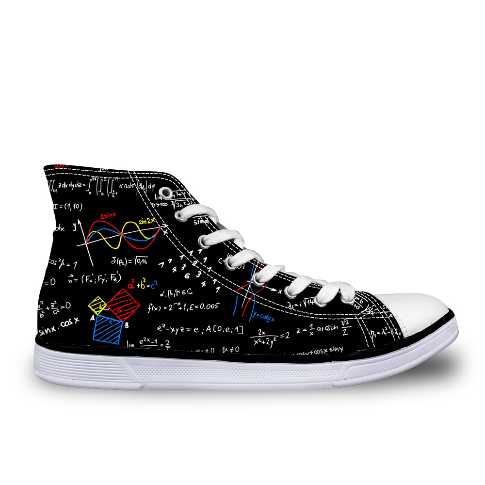 NOISYDESIGNS Cool Mens Canvas Vulcanized Shoe Graffiti Chemical Formula Shoes For Boys School High Top Flat Zapatos Vulcanizado