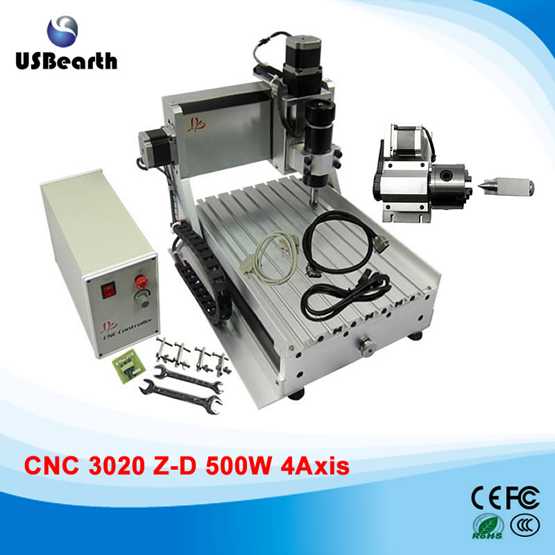 4 Axis Engraving Drilling and Milling Machine LY CNC 3020 Z-D with 500W spindle motor cnc 3020 router wood pcb engraving driling and milling machine cnc3020 500w spindle motor