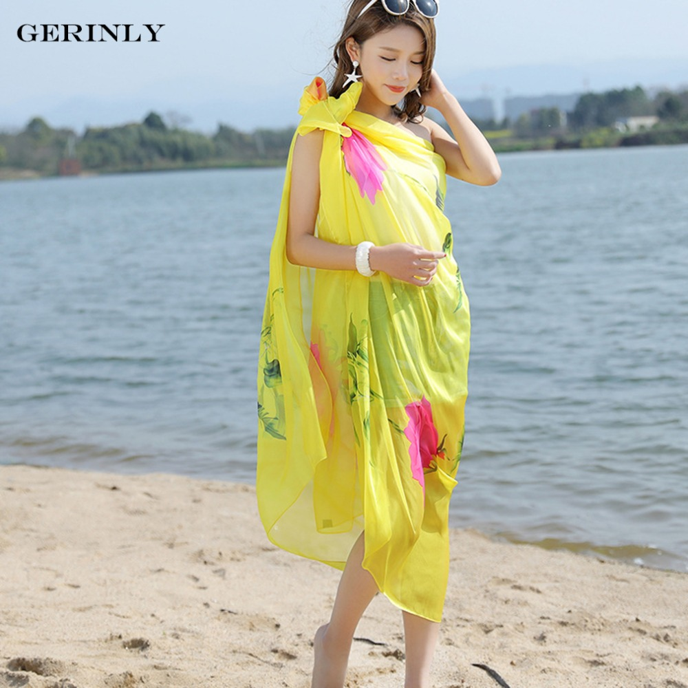 636e88ffb6405 GERINLY Beach Pareo Summer Scarves Women Flowers Chiffon Shawls Scarf New Fashion  Swimwear Bikini Cover Up Hawaiian Sarong Dress