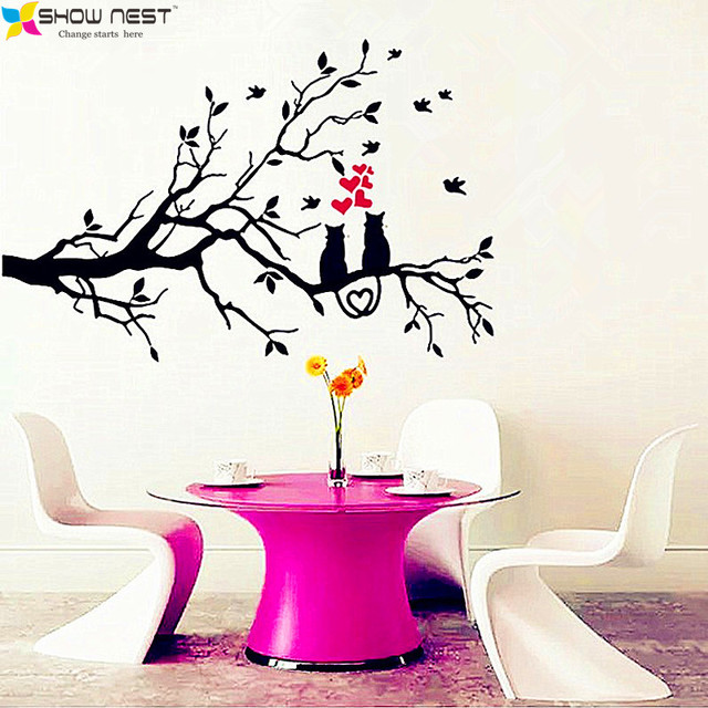 Two Cats On Tree Branch Birds Vinyl Wall Sticker Wall Art Decorative Decal  Glass Window Sticker Part 69