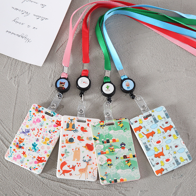 1PCS ID Badge Case Cartoon Card Holder With Lanyard Students Girl Cute Bus Card Case Badge Credit Card Holders Cover