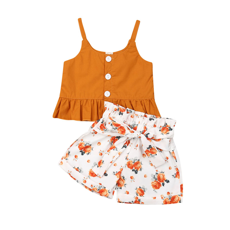 Boho Kids Baby Girl Clothes Sets Summer Toddler 2Pcs Buttons Sling Crop Tops Floral Wide Leg Shorts Baby Girl Outfits 0-4Y