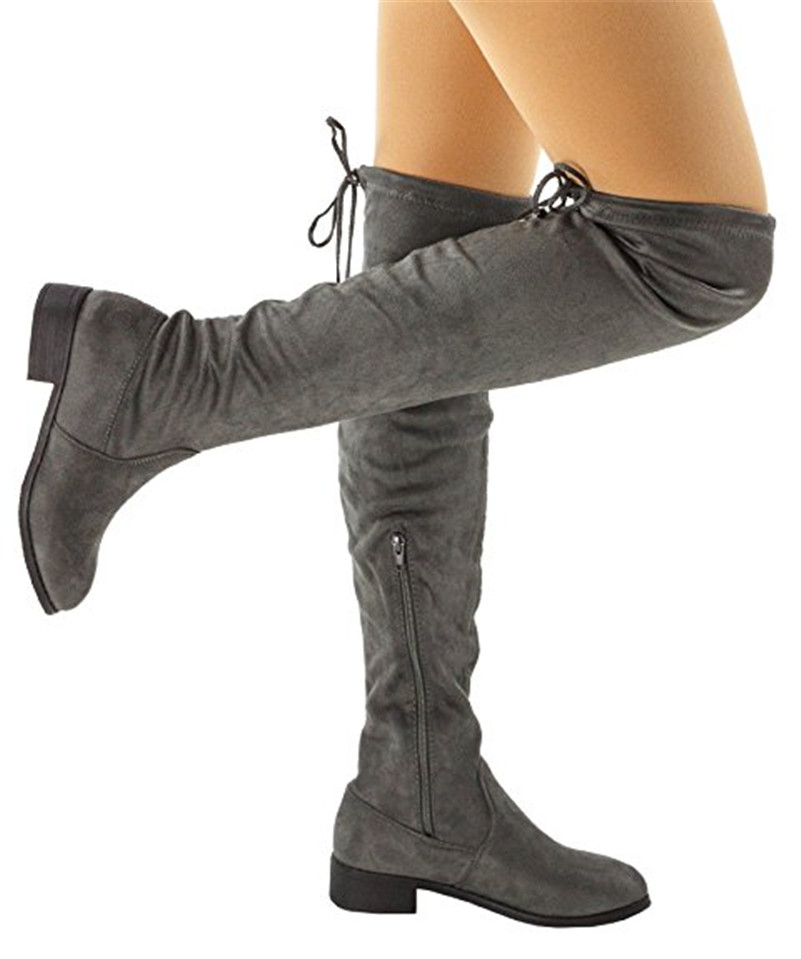 395aba14bfe Fashion Thigh High Boots Women Snow Boots Stretch Fabric zip up Over The Knee  Boots Sexy Womens Winter Boots Black-in Over-the-Knee Boots from Shoes on  ...