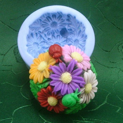 3D Flowers and beetles shape soft silicone resin DIY Soap  Chocolate cakes Mold handmade soap cookie Ice mould H0183