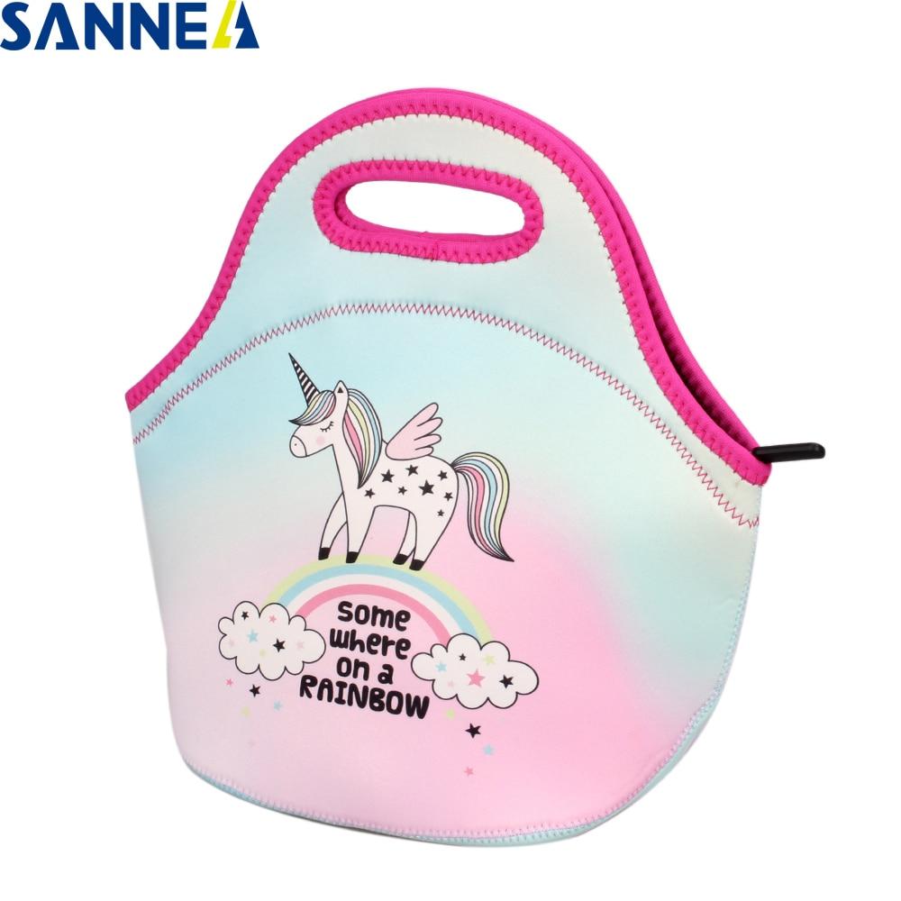 SANNE Unicorn Portable insulated Picnic Handbag Children Women Snacks Tote Lunch Bags co ...