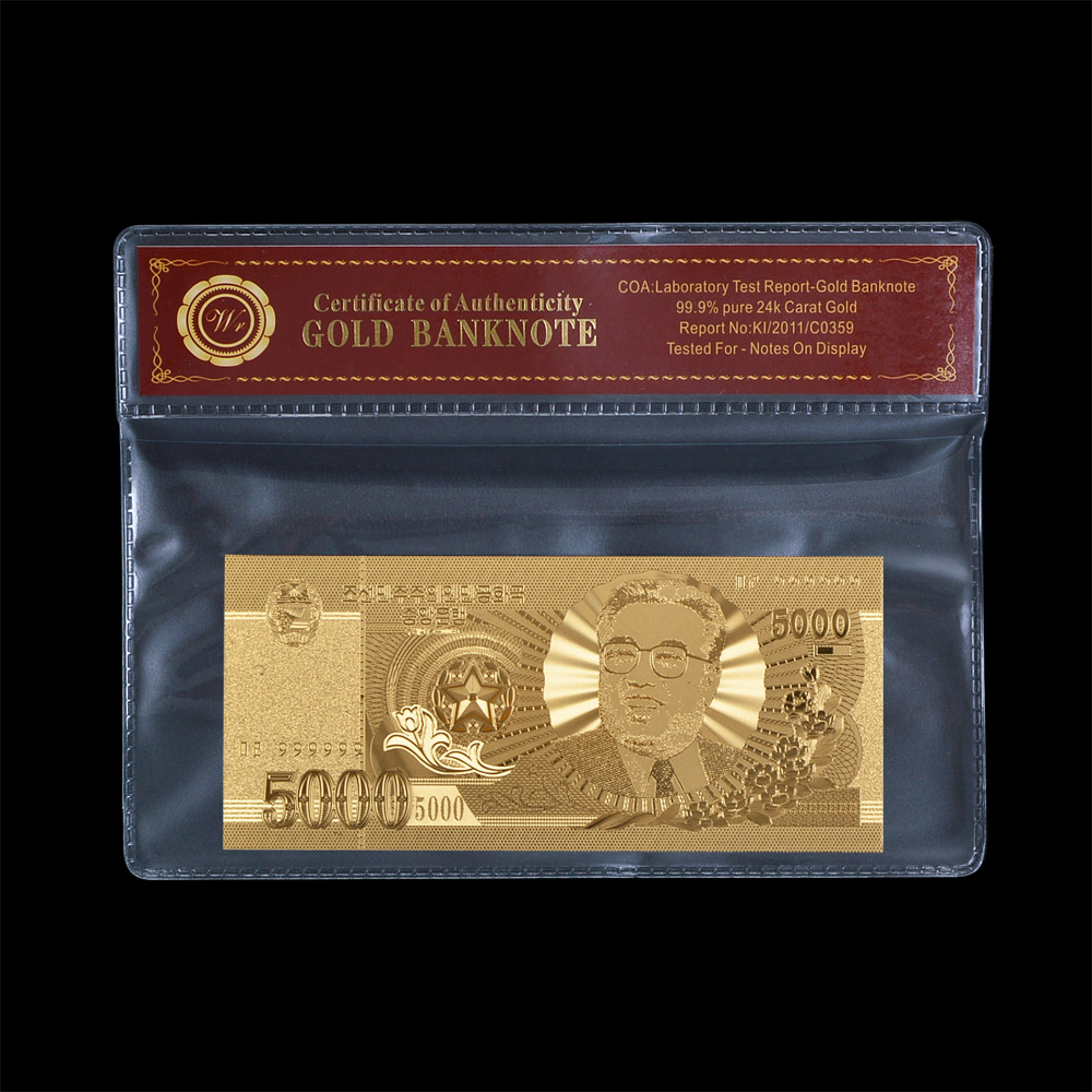Gold Banknote North Korea 5000 Won Asia Banknote Gold Foil Plated Fake Money Collection Creative Gift