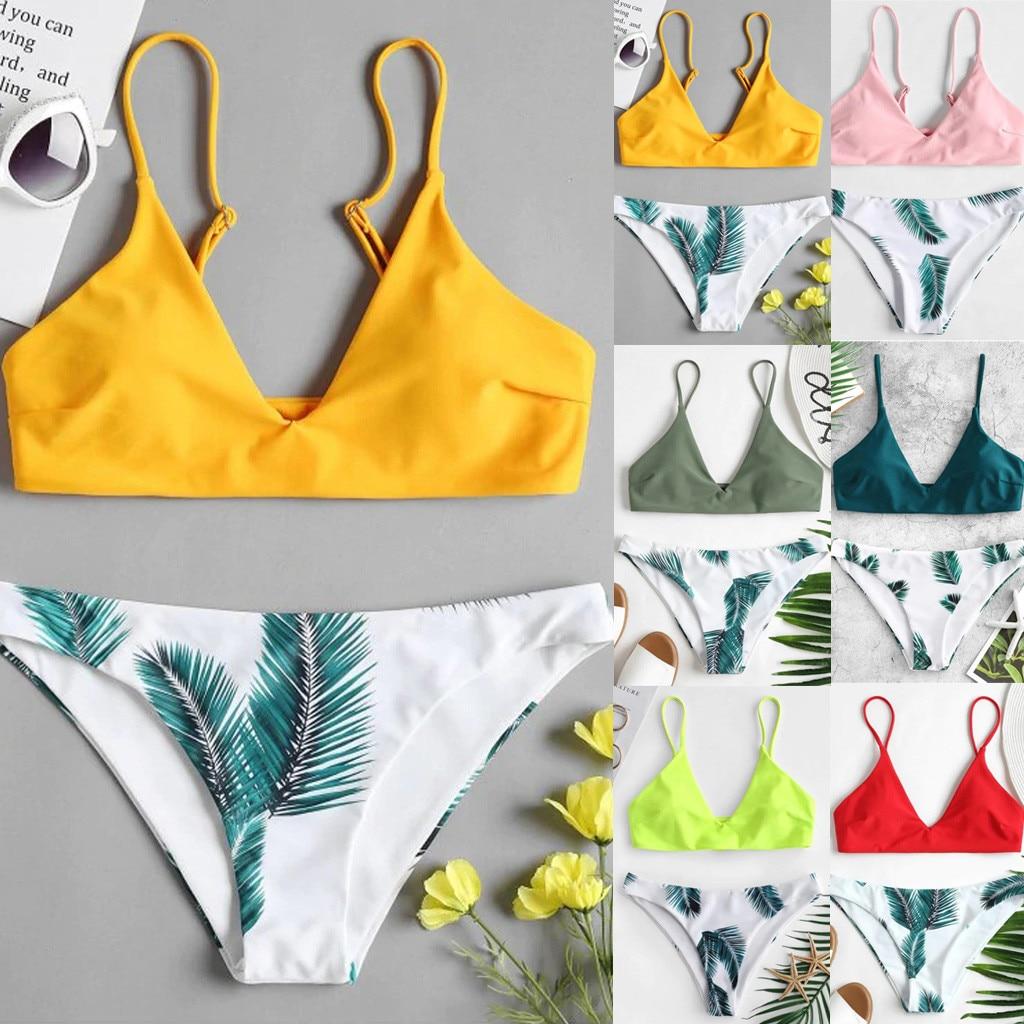 HTB1dj19aL1H3KVjSZFBq6zSMXXaM Bikini 2018 Hot Sale 2019 Women's swimming suit Women's Bikini Set Sexy Leaves For Rope Swimsuit Push-up Swimwear 2.0#