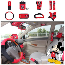10pcs / set Cute Cartoon Mickey Hello Kitty Car Seat Cover Interior Accessories Plush Universal Steering Wheel Cover for Women