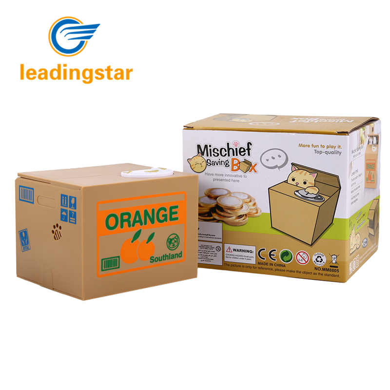 LeadingStar Electronic Automatic Stealing Coin Cat Box Piggy Bank Money Box Funny Toys For