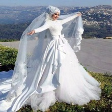 Muslim Wedding Dresses Full Sleeve Appliques Beading Bridal Gowns Lace Long White Bow A Line Islamic
