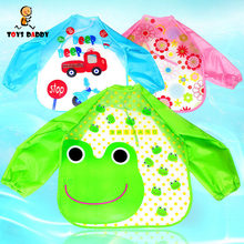 cute cartoon Baby Bibs Long Sleeve kids baberos waterproof feeding cover cloth Meal Pick Rice Pocket 23 types(China)
