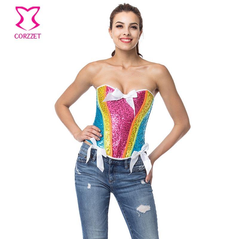 Corzzet Rainbow Sequin Korzet Sexy Bustier Top Korzet Korzety a korzety Korzety E Espartilhos Gotické oblečení