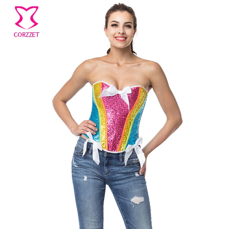 Corzzet Rainbow Sequin   Corset   Sexy   Bustier   Top Corselet Overbust   Corsets   and   Bustiers   Corpetes E Espartilhos Gothic Clothing