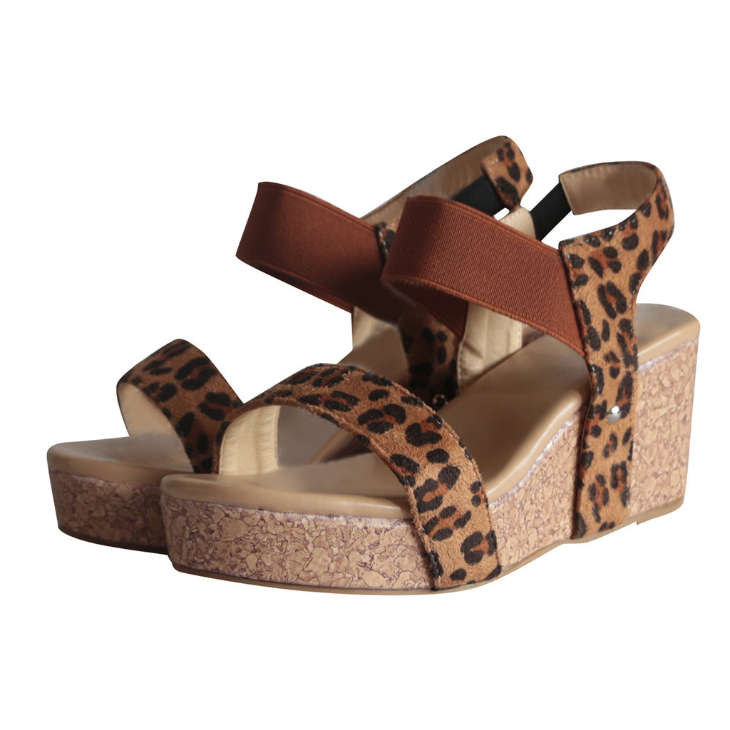 Summer sandals for women Ladies Wedge sandals Open Toe Elastic band Shoes Leopard Print Thick-soled high heels Footwear Pumps
