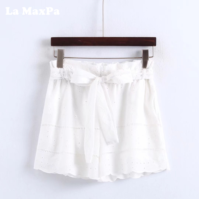 2018 New Women Fashion Summer Shorts Hollow Out High Elastic Waist Drawstring Casual Shorts Sweet Style Hot Shors Bow Tie Bottom