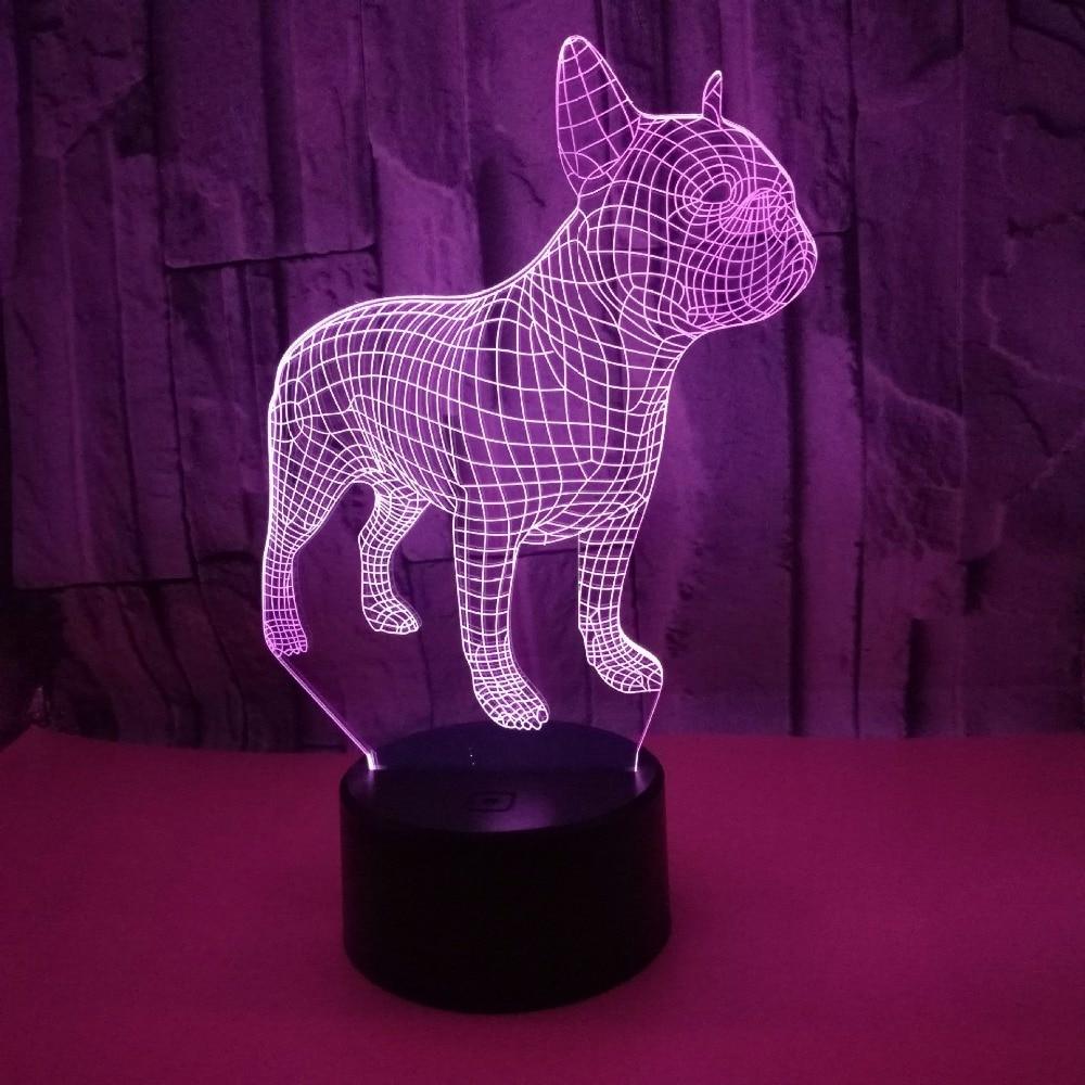 Bulldog 3D Lampen 7 Color USB Night Lamp LED for Kids Birthday Creative Bedside Decor Gift French Bulldog Design