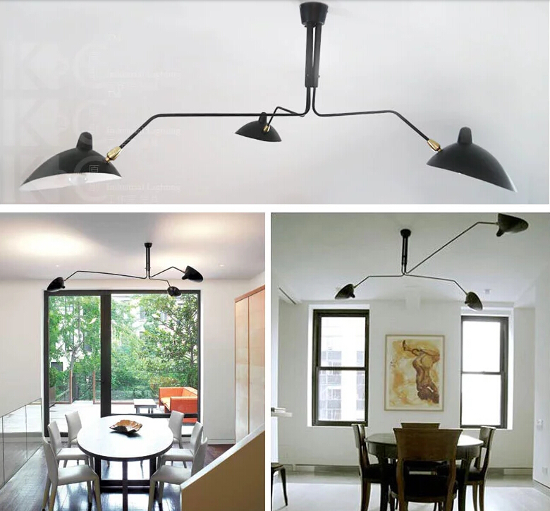 Aliexpress Com Modern 3 Or 6 Head Serge Mouille Pole Ceiling Lights Factory  Iron Lampshade Ktchen - Serge Mouille Lighting Iron Blog