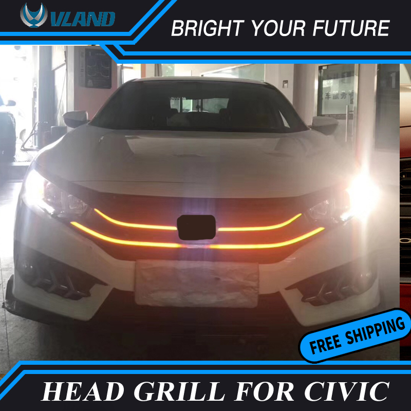 Auto Headlights Grill For Honda Civic 10th 2016 2017 2018 LED Head Grills Yellow Moving Turn Light