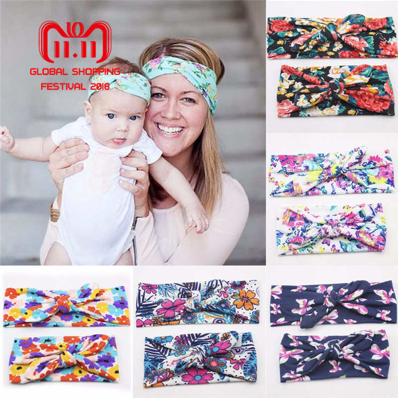 Puseky 2Pcs Mom and Me Bohemian Turban Headband Top Knotted Rabbit Ears Elastic Bowknot Matching Headband Mommy Newborn Hairband fashion girl headband sweet bowknot kids girls rabbit ears elastic wave hairband turban knot head wraps hair accessories gift