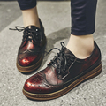 Women's Genuine Leather British Style Flats Oxfords Brand Designer Carving Leisure Esparilles Lace-up Shoes for Women Footwear