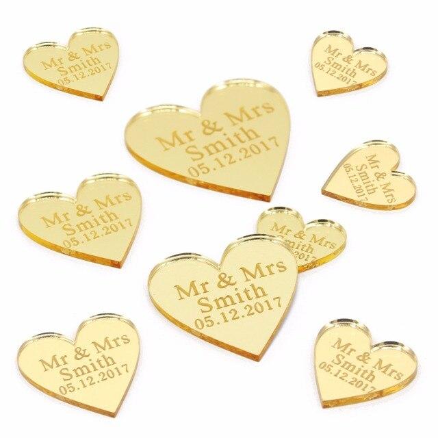 Centros de mesa de corazones de amor grabados con láser personalizado 100x oro/plata espejo/madera etiquetas decoración de mesa de fiesta de boda favores