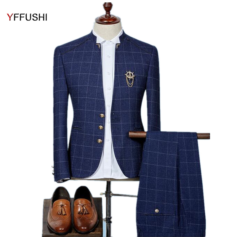 YFFUSHI 2018 2 Pieces Men Suit Men Stand Collar Navy Suits Classic Plaid Design Tuxedo Wedding Suits for Men Design Slim 6XL