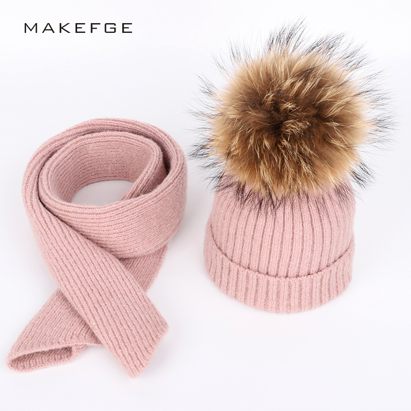 Winter new solid knitted children's cotton hats Scarf, Hat & Glove Sets boy and girl raccoon fur pom-poms warm and ski caps