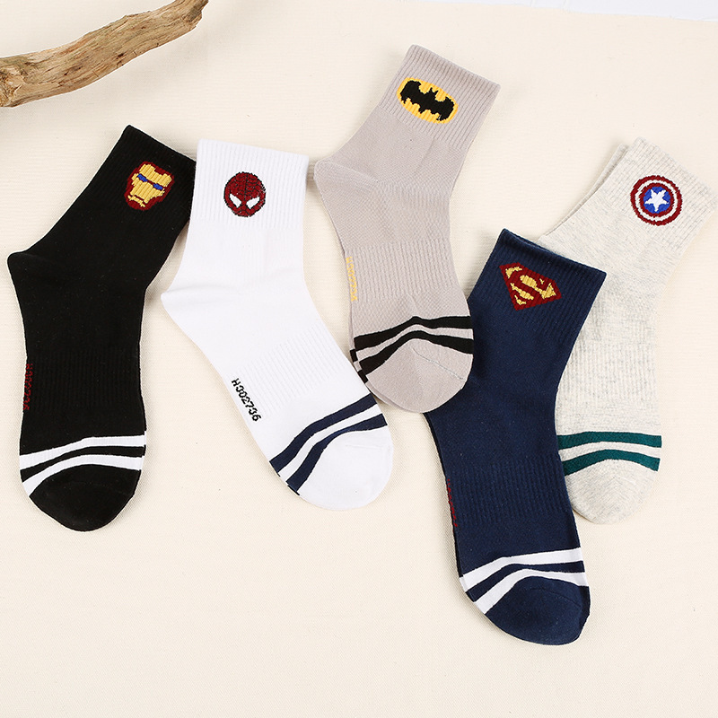 Harajuku 100% Cotton Men Socks Hip Hop Street Skateboarding Happy Funny Socks Superman Batman Iron Spider-Man Print Sox Mid-Tube