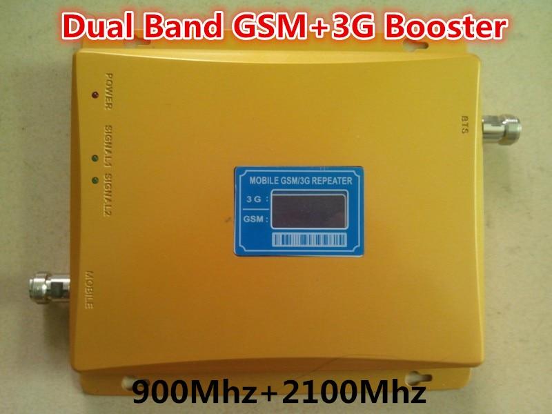Écran lcd!!! Dual Band 65dBi 2G 3G GSM Téléphone Mobile Répéteur de Signal GSM 900 mhz + 3G 2100 mhz Booster Amplificateur Extender