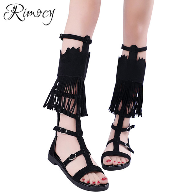 5a381c061 Rimocy black tassel gladiator sandals womens flat with sexy hollow out back  zipper knee high summer boots shoes woman rome style