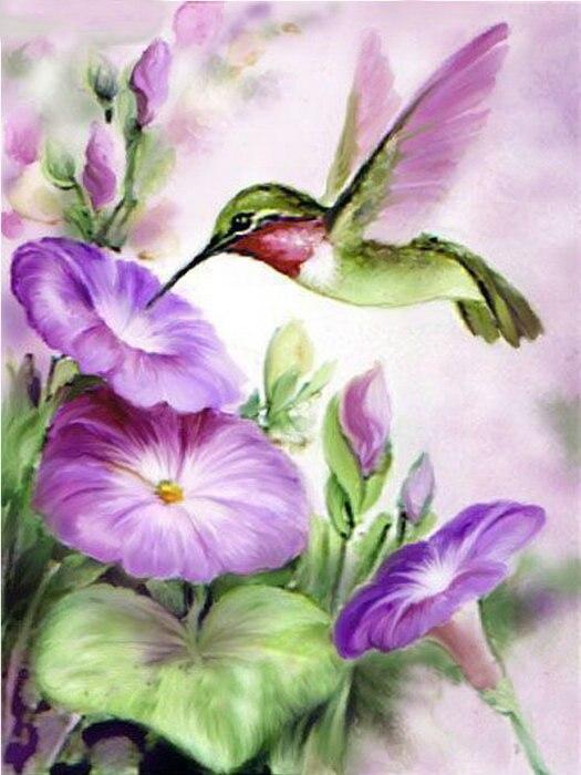 3d full diamond painting purple flowers handmade diamond embroidery Hummingbird stickers 5d diy diamond pictures of rhinestones