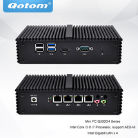 QOTOM Pfsense Mini PC with Core i3 i5 i7 processor and 4 Gigabit NICs, support AES NI, Serial, Fanless Mini PC PFSense