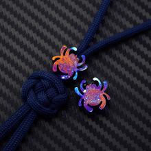 Knife Beads EDC tools DIY Baked blue Titanium alloy Lanyard Pendant -spider bead TC4 --1 piece price