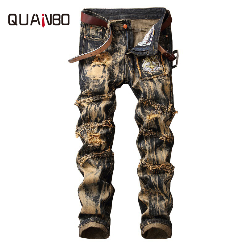 QUANBO Brand Clothing 2018 New Men European and American Style Vintage Ripped   Jeans   Fashion Animal Pattern Straight   Jeans   40 42