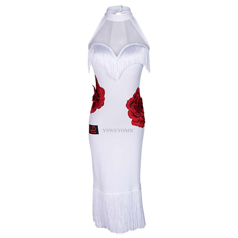 Frauen Latin Dance Kleid Wettbewerb Sexy Ärmelloses Schwarz Weiß Fringe Salsa Bachata Latin Kleid UA62