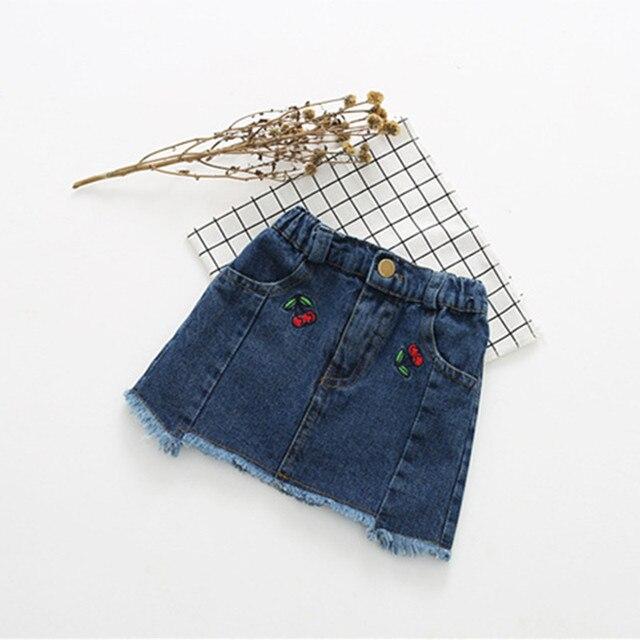 2017 Sexy Baby Girls Short Jeans Skirts Children Girl's Embroidery Denim Mini Skirts Princess Girls Beach Summer Skirts Clothes