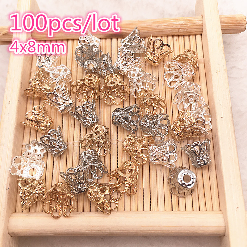100pcs Jewelry Accessories Beads Caps Medium Wine Cup Silver/Gold/Dull Silver Plating For  DIY Necklace Bracelet