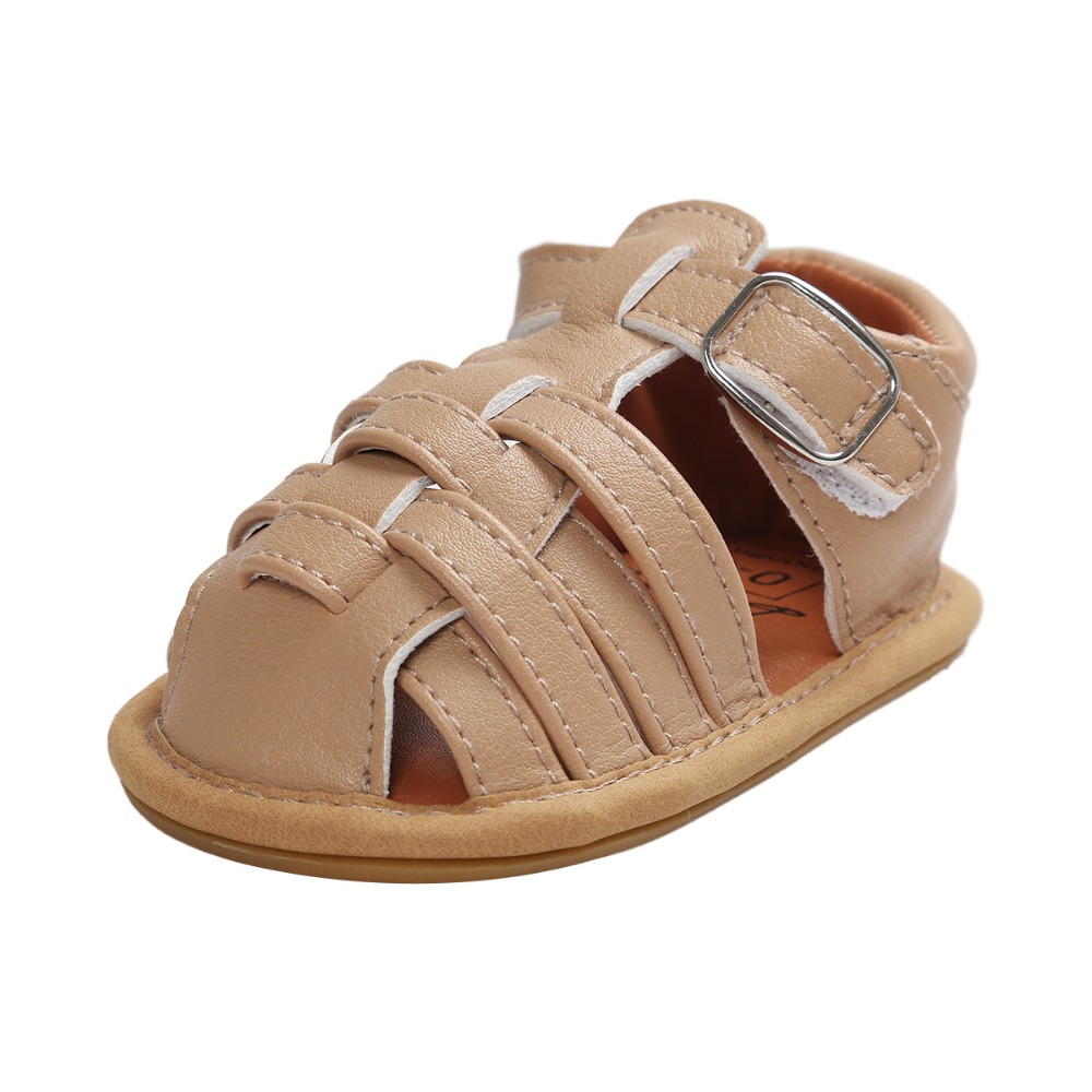 Khaki New Summer PU Leather Flower design Newborn Baby Girl Boy Crib First Walkers Baby sandals many colors for choose