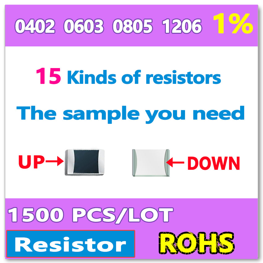 OHM 1% F 0402 1005 0603 1608 0805 2012 1206 3216 10R-1M 15 Kinds of DIY sample A total of 1500 kit resistor 100 pcs ic smd smt resistor capacitor inductance electronic components sample book empty page for 0402 0603 0805 1206